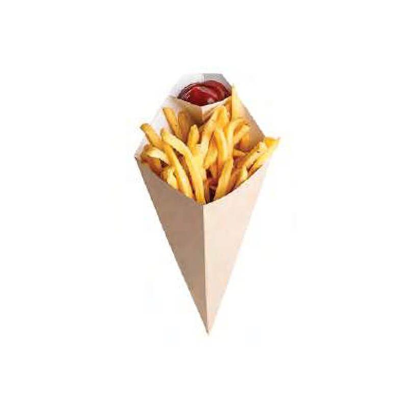 Cono cartoncino eco per fritti con porta salsa 13,5 x 22,5 cm