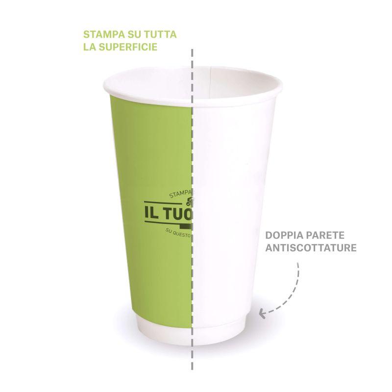 Double wall compostable PLA cups 350 cc custom design