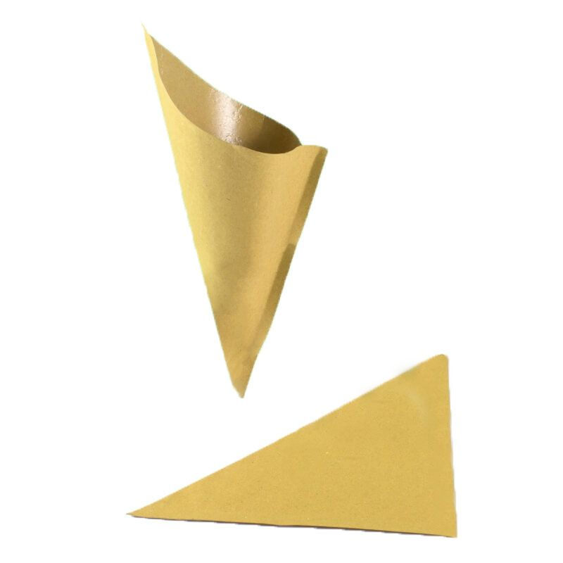 Straw paper cone for fried [21 x 29.5 cm] - Neutral