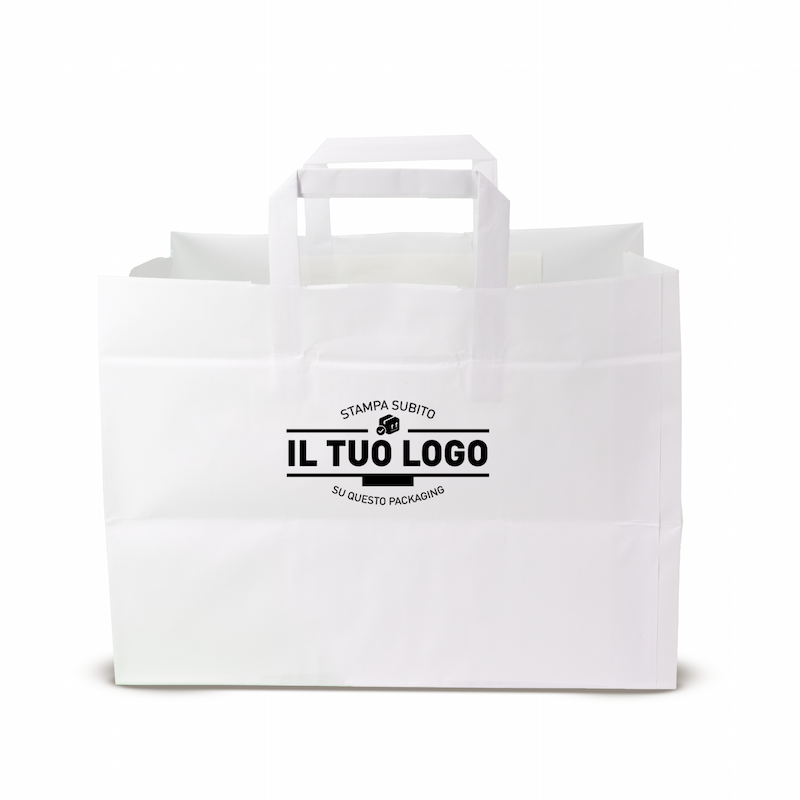 Kraft Flat Handle Paper Shoppers (32+23x20 h)