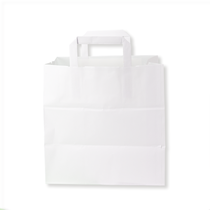 Kraft Flat Handle Paper Shoppers (26+18x26 h) - Neutral