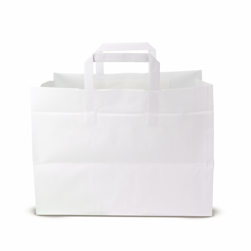 Kraft flat handle paper shoppers (32+23x20 h) - Neutral