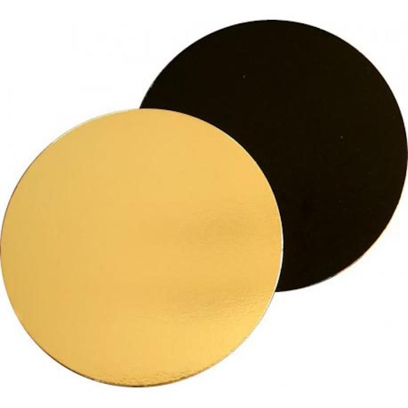 Black/gold round cardboard cake trays - neutral