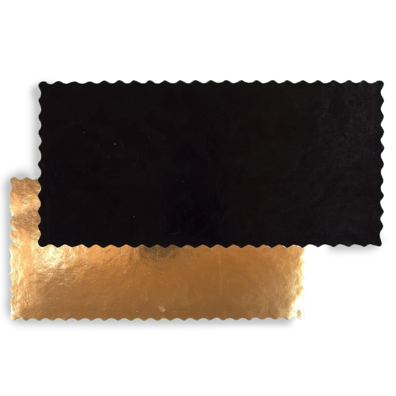 Black/Gold coloured square cardboard tray