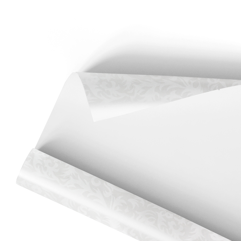 Coupled food wrapping paper white damask (100x75cm) - Neutral