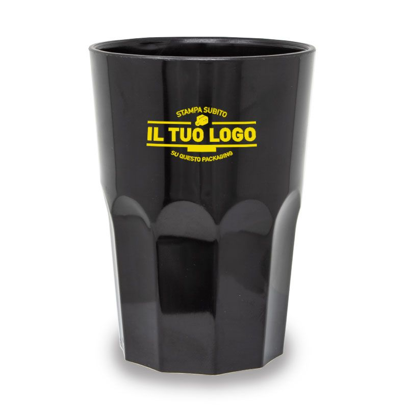 Black hard plastic cups 350 cc