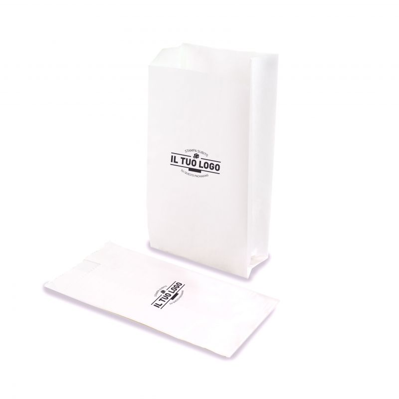 Sacchetti Kraft bianchi base 12 cm (soffietto 8 cm)