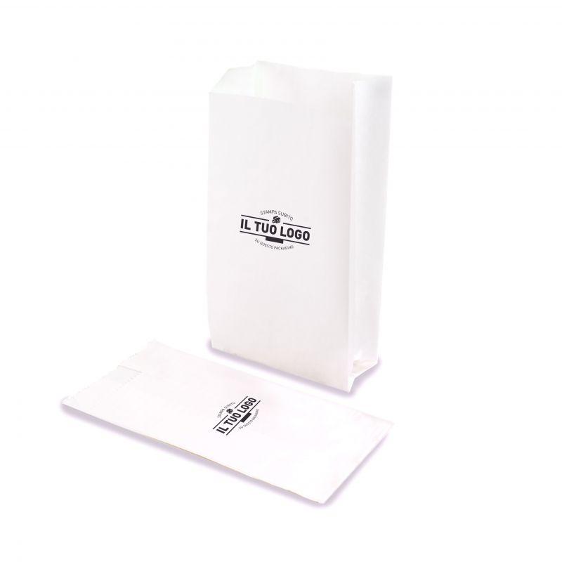 Sacchetti Kraft bianchi Base 14 (soffietto 10 cm)