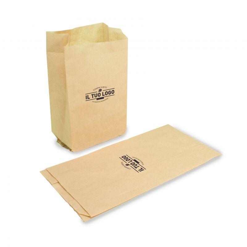 Sand paper kraft bags 12 + 6 x 24 cm