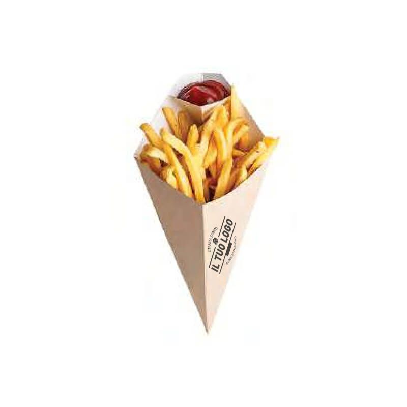 Eco Kraft chip cone with sauce compartment 16,5 x 27 cm - Printed