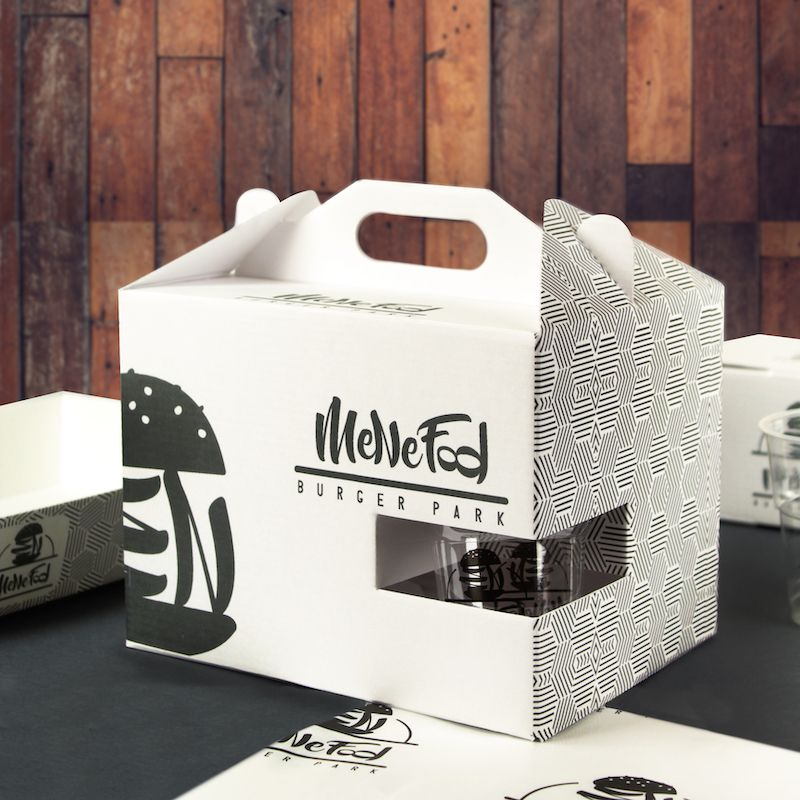 Food microwave cardboard boxes with handles