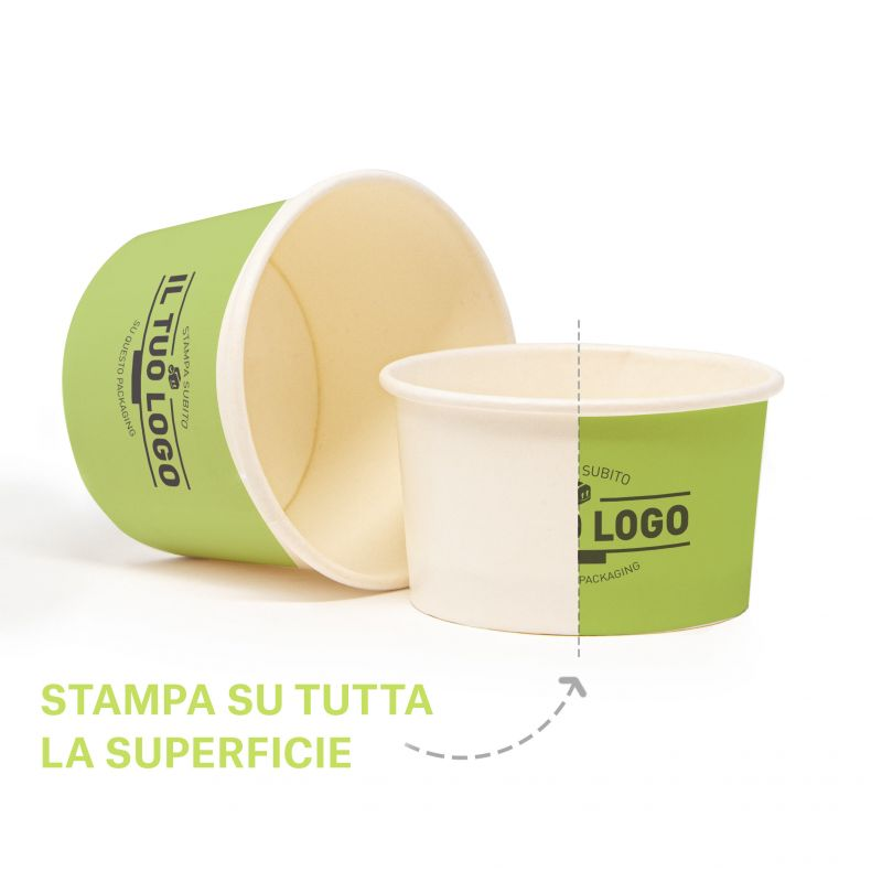 Compostable ice cream paper cups - C200 - to customize