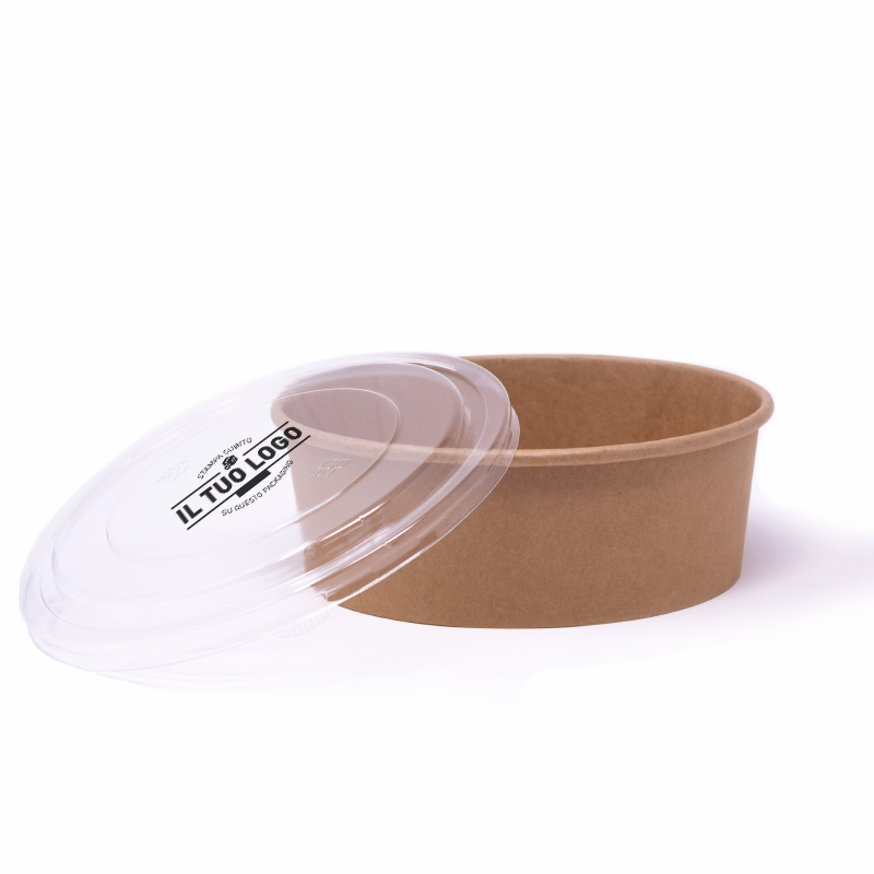 PET lids for cardboard bowls 1300 ml to customize