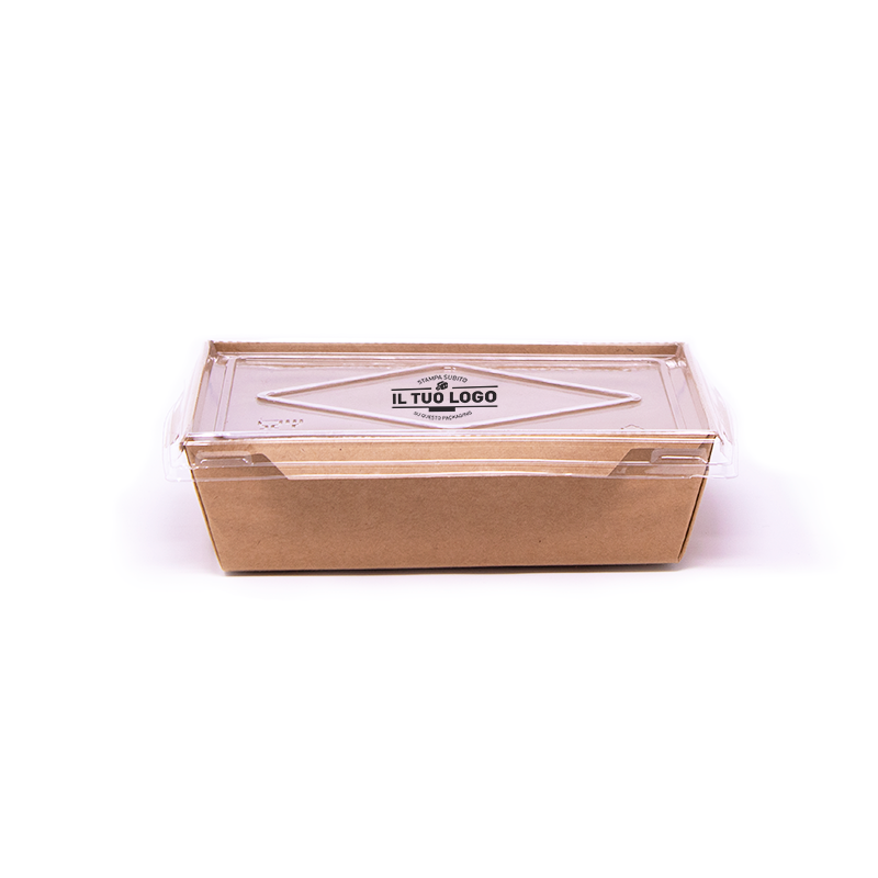 Eco box for salad + lid to customize - 500 ml - 13,5x8,5x3,9 cm