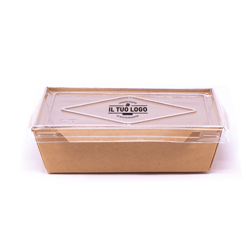 Eco box for salad with lid to customize - 1000 ml - 220x160x55