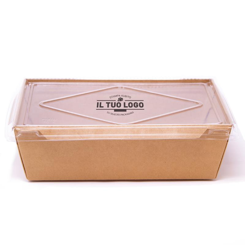 Contenitore eco + coperchio da personalizzare - 1200 ml - 19,5x14x6,5 cm