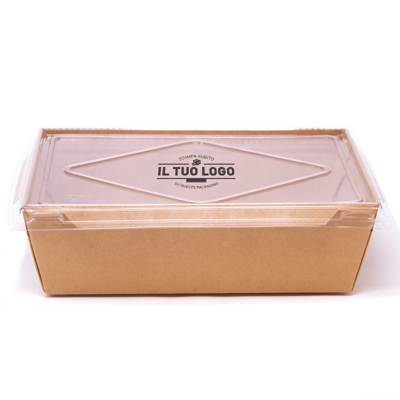 Eco box for salad with lid to customize - 800 ml - 19,5x14x6,5 cm