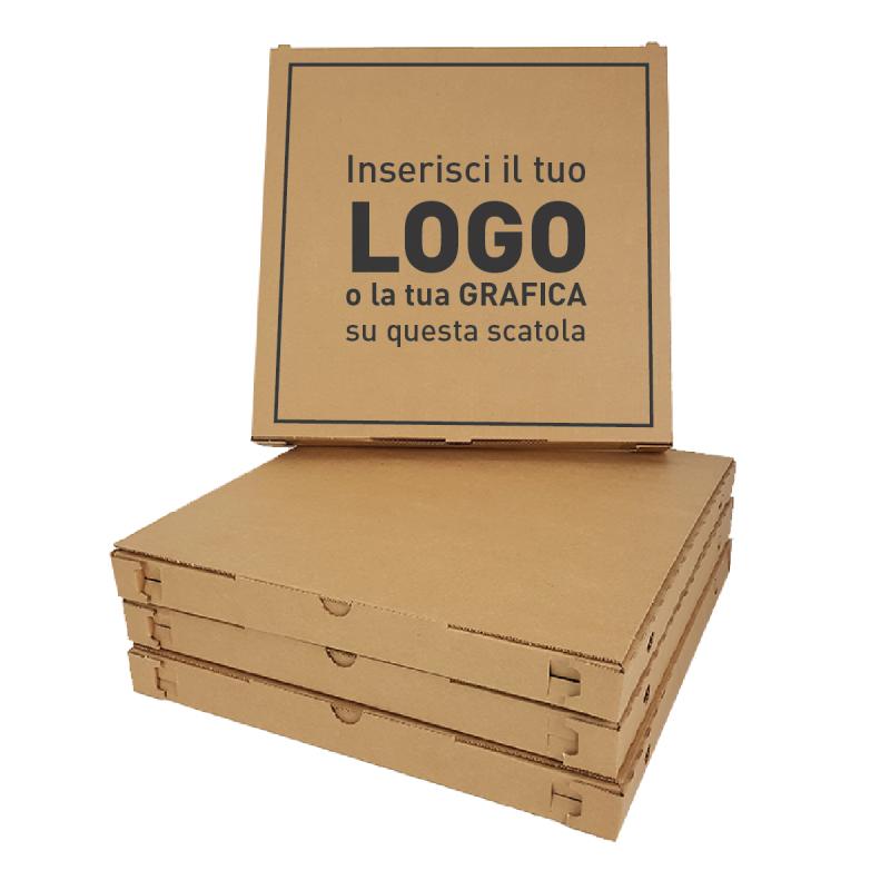 Scatola pizza 33x33x3,5 cm Avana - personalizzata