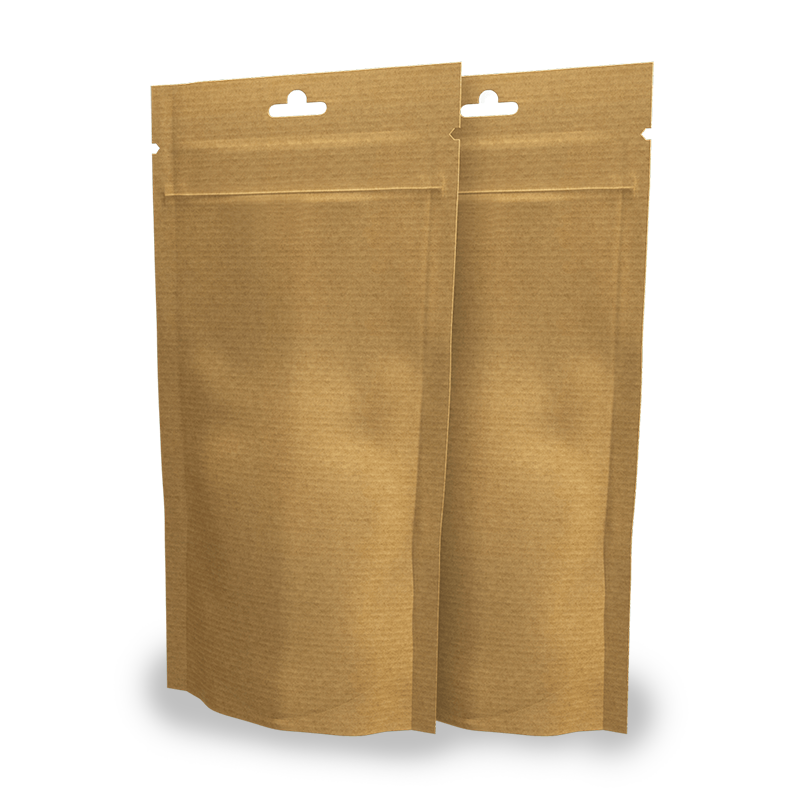 Buste Doypack carta paglia 13x26,5 cm con euroforo e zip Neutre