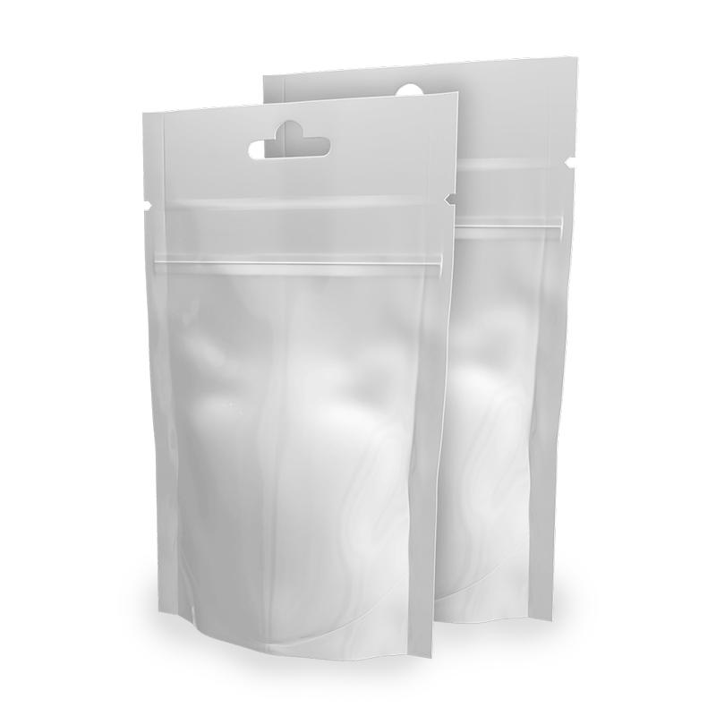 White Doypack Envelopes 9x16 cm with euroforo and zip Neutral