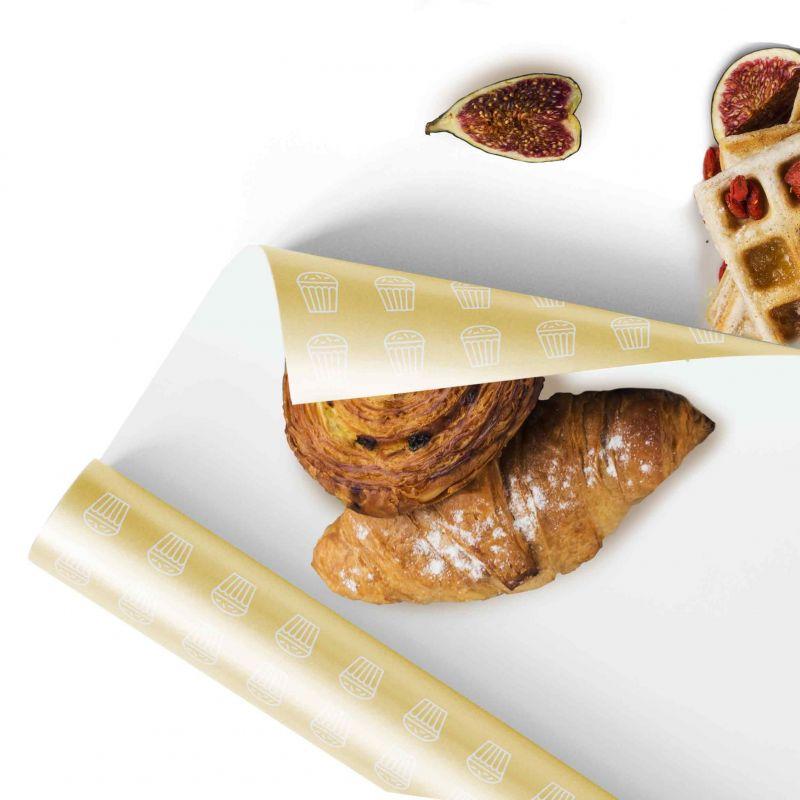 Carta per alimenti Polipropilene perlato - fondo pieno logo 1colore