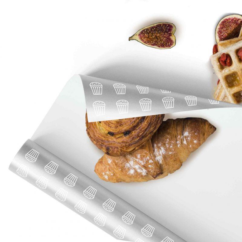 Carta per alimenti Polipropilene metallizzato - fondo bianco logo 1/2 colori