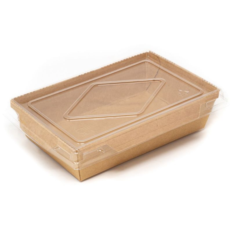 Contenitore eco per insalate con coperchio - 500 ml - 13,5x8,5x3,9 cm Neutri