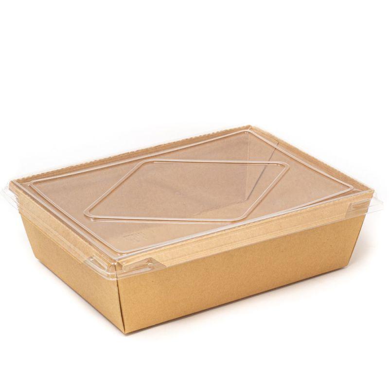 Contenitore eco per insalate con coperchio - 2100 ml - 19,5x14x6,5 cm