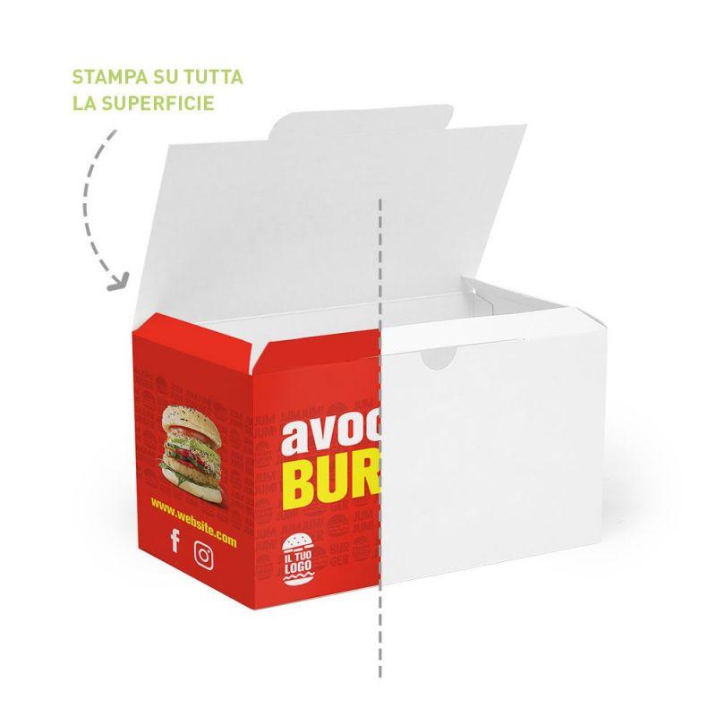 scatola per hamburger e contorni